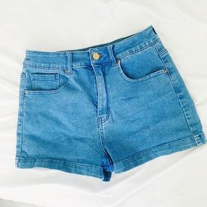 Forever 21 High Waisted Blue Denim Shorts